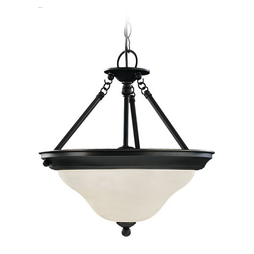 Sea Gull Lighting Pendant Light with White Glass in Heirloom Bronze Finish 69562BLE-782