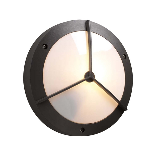 PLC Lighting Modern Outdoor Wall Light with White Glass in Bronze Finish 1859 BZ