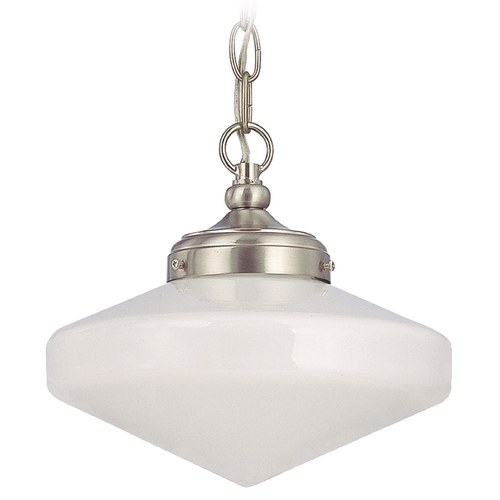 Design Classics Lighting 10-Inch Schoolhouse Mini-Pendant Light in Nickel Finish with Chain FA4-09 / GE10 / A-09