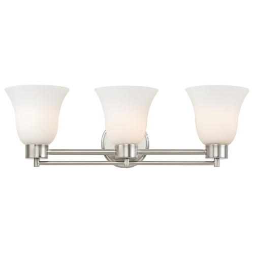 Design Classics Lighting Modern Bathroom Light with White Glass in Satin Nickel Finish 703-09 GL9222-WH