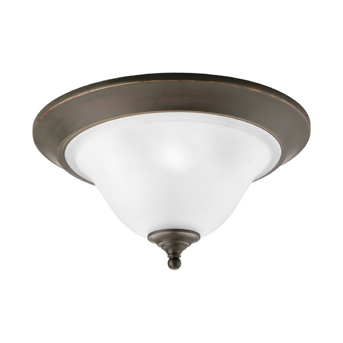 Progress Lighting Progress Flushmount Light with White Glass in Antique Bronze Finish P3477-20