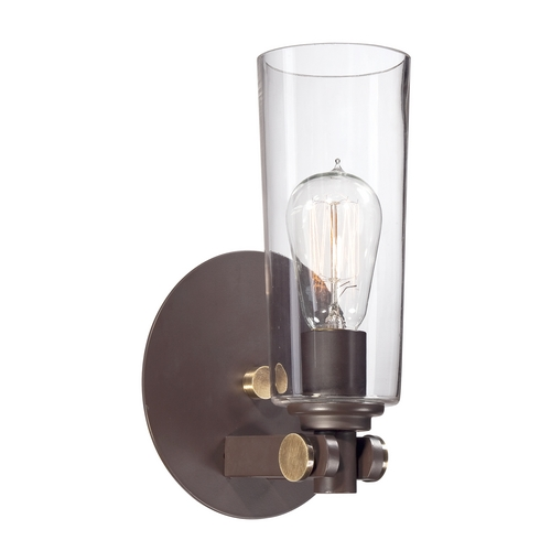 Quoizel Lighting Sconce Wall Light with Clear Glass in Western Bronze Finish UPEV8701WT