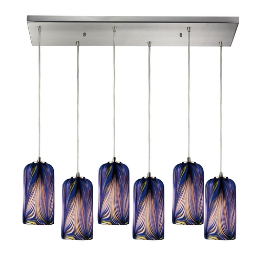 Elk Lighting Modern Multi-Light Pendant Light with Blue Glass and 6-Lights 544-6RC-MO