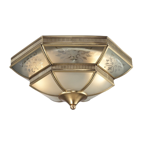 Elk Lighting Flushmount Light with White Glass in Brushed Brass Finish 22005/2