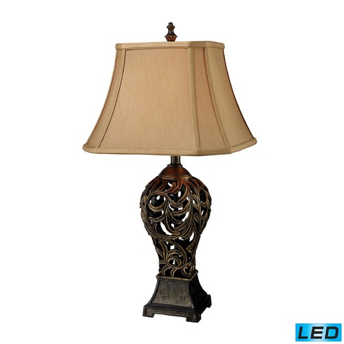 Dimond Lighting Dimond Lighting Buthan Bronze LED Table Lamp with Cut Corner Shade D1757-LED