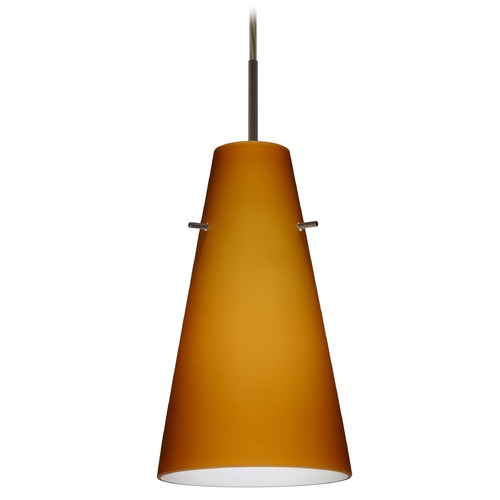 Besa Lighting Besa Lighting Cierro Bronze LED Mini-Pendant Light with Conical Shade 1JT-412480-LED-BR