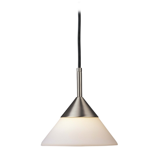 George Kovacs Lighting Modern Mini-Pendant Light with White Glass in Brushed Nickel Finish P9528-603