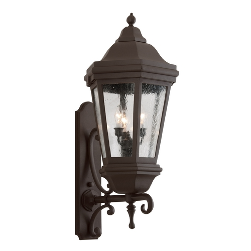 Troy Lighting Outdoor Wall Light with Clear Glass in Bronze Patina Finish BCD6834BZP