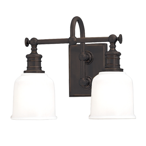 Hudson Valley Lighting Bathroom Light with White Glass in Old Bronze Finish 1972-OB