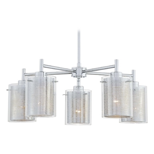 George Kovacs Lighting Modern Chandelier with Clear Glass in Chrome Finish P965-077