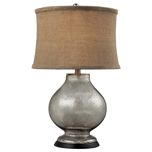 Elk Lighting Table Lamp with Beige / Cream Shade in Antique Mercury Glass Finish D2239