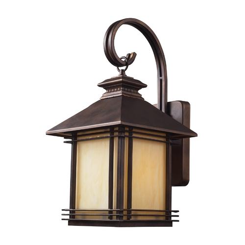 Elk Lighting Outdoor Wall Light with Beige / Cream Glass in Hazlenut Bronze Finish 42101/1