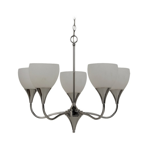 Sea Gull Lighting Modern Chandelier with White Glass in Polished Nickel Finish 31961-841