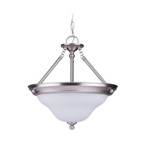 Sea Gull Lighting Pendant Light with White Glass in Brushed Nickel Finish 69562BLE-962