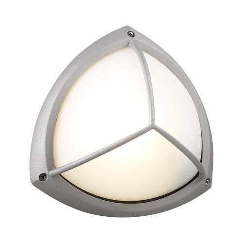 PLC Lighting Modern Outdoor Wall Light with White Glass in Silver Finish 1846 SL