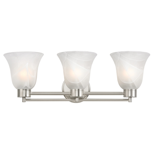 Design Classics Lighting Modern Bathroom Light with Alabaster Glass in Satin Nickel Finish 703-09 GL9222-ALB