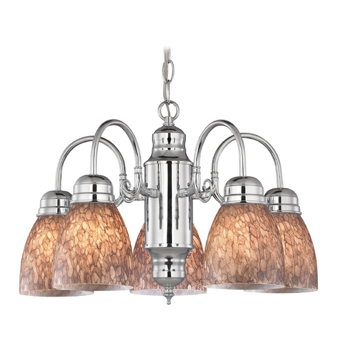 Design Classics Lighting Mini-Chandelier with Brown Art Glass in Chrome Finish 709-26 GL1016MB