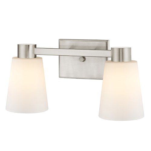 Design Classics Lighting 2-Light White Glass Bathroom Vanity Light Satin Nickel 2102-09 GL1055