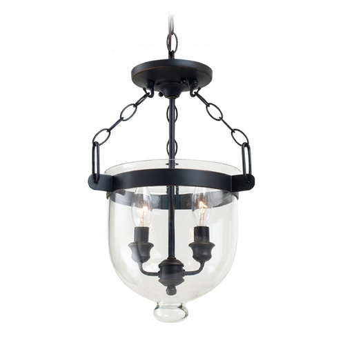 Sea Gull Lighting Mini-Pendant Light with Clear Glass in Autumn Bronze Finish 77046-715