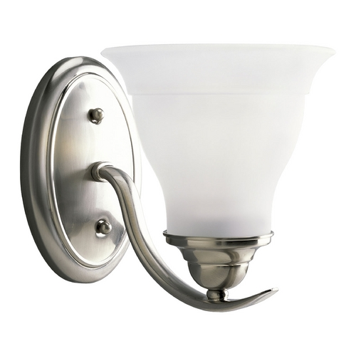 Progress Lighting Progress Sconce Wall Light with White Glass in Brushed Nickel Finish P3190-09