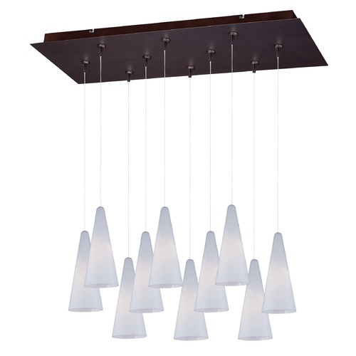 ET2 Lighting Minx Bronze Multi-Light Pendant with Conical Shade E93928-101BZ
