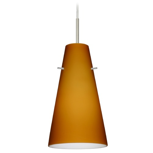 Besa Lighting Besa Lighting Cierro Satin Nickel LED Mini-Pendant Light with Conical Shade 1JT-412480-LED-SN