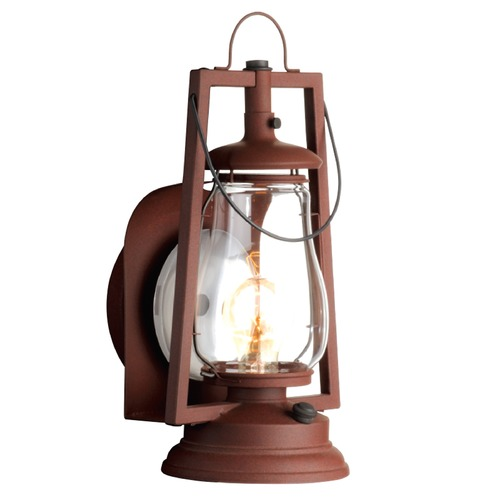 Sutters Mill Lantern Co Reflector Wall Mount Rustic Outdoor Wall Lantern - Painted Rust Finish 752-S-2-PR-CL