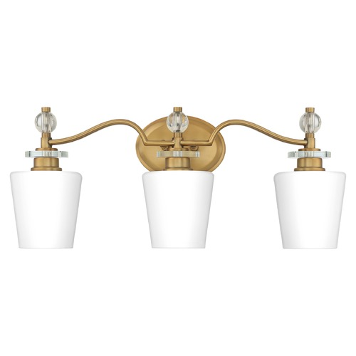 Quoizel Lighting Quoizel Lighting Hollister Weathered Brass 3-Light Bathroom Light with Opal Glass HS8603WS