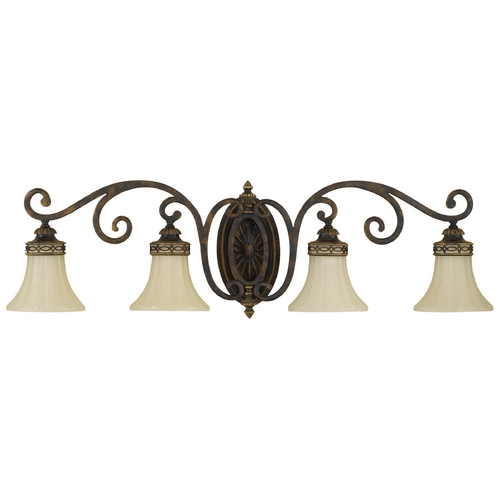 Feiss Lighting Bathroom Light with Beige / Cream Glass in Walnut Finish VS11204-WAL