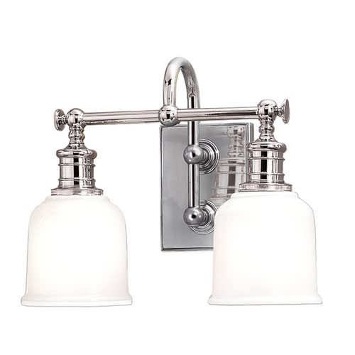Hudson Valley Lighting Bathroom Light with White Glass in Polished Chrome Finish 1972-PC