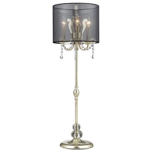 Elk Lighting Modern Console & Buffet Lamp with Black Shade in Silver Leaf Finish D2216