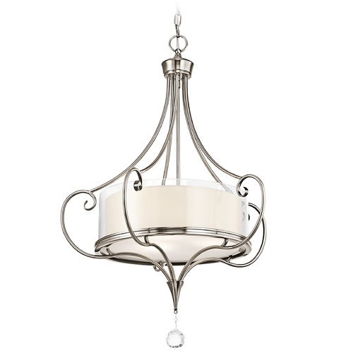 Kichler Lighting Kichler Drum Pendant Light with Clear Glass in Classic Pewter Finish 42864CLP