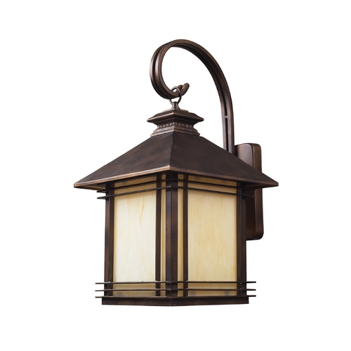Elk Lighting Outdoor Wall Light with Beige / Cream Glass in Hazlenut Bronze Finish 42102/1