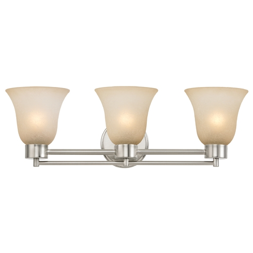 Design Classics Lighting Modern Bathroom Light with Brown Art Glass in Satin Nickel Finish 703-09 GL9222-CAR