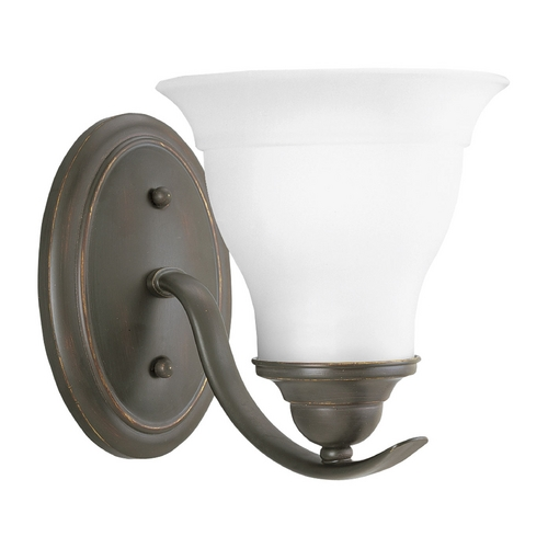 Progress Lighting Progress Sconce Wall Light with White Glass in Antique Bronze Finish P3190-20