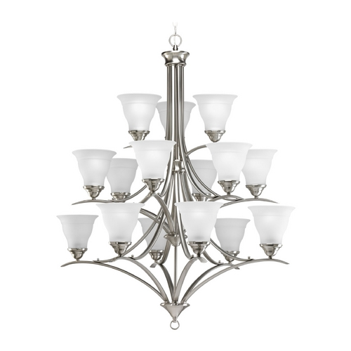 Progress Lighting Progress Chandelier with White Glass in Brushed Nickel Finish P4365-09EBWB
