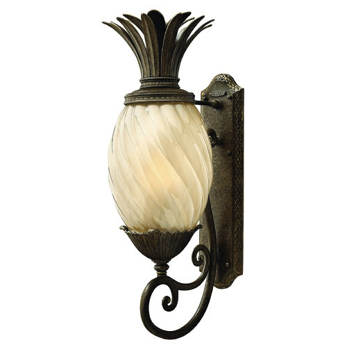 Hinkley Lighting Outdoor Wall Light with Amber Glass in Pearl Bronze Finish 2124PZ