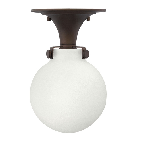 Hinkley Lighting Globe Semi-Flushmount Light in Bronze Finish with White Opal Glass 3143OZ