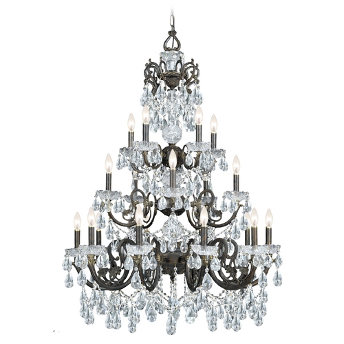 Crystorama Lighting Crystal Chandelier in English Bronze Finish 5190-EB-CL-MWP