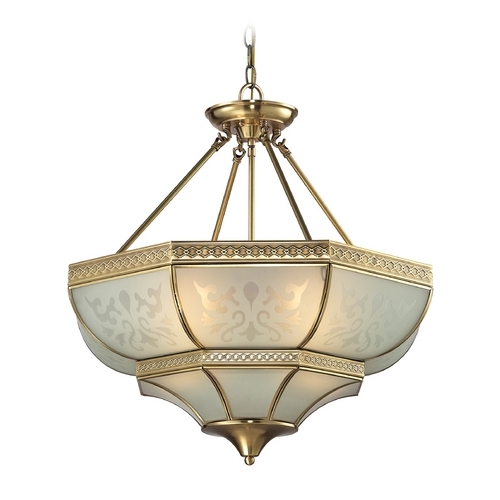 Elk Lighting Pendant Light with White Glass in Brushed Brass Finish 22007/4