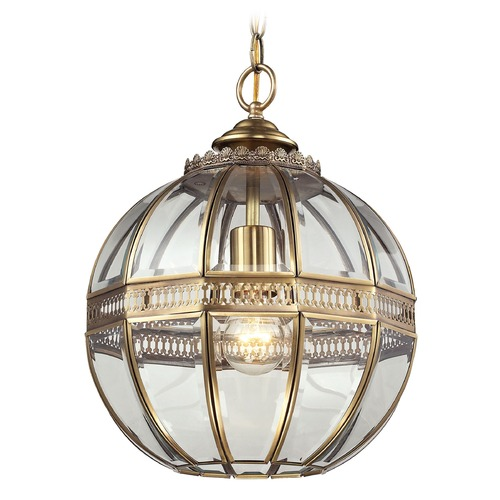 Elk Lighting Elk Lighting Randolph Brushed Brass Pendant Light with Globe Shade 22020/1