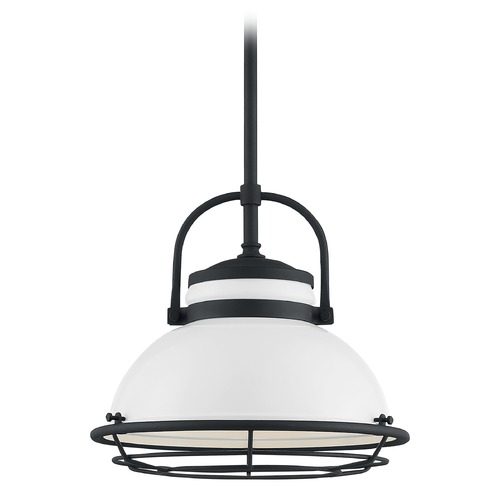 Satco Lighting Satco Lighting Upton Gloss White / Textured Black Outdoor Hanging Light 60/7084