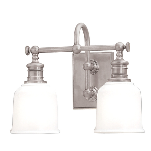 Hudson Valley Lighting Bathroom Light with White Glass in Satin Nickel Finish 1972-SN