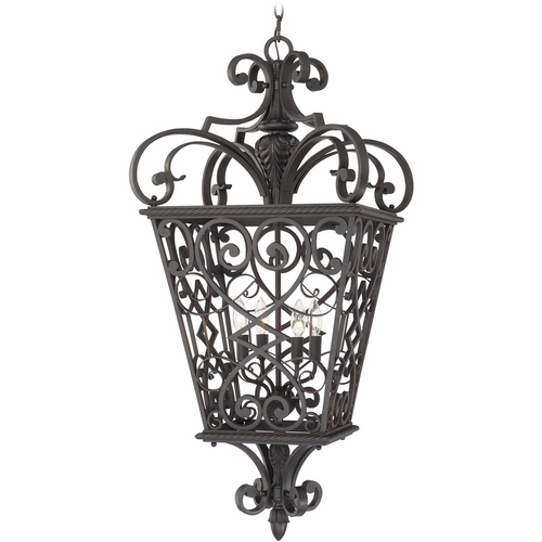 Quoizel Lighting Outdoor Hanging Light in Marcado Black Finish FQ1920MK01