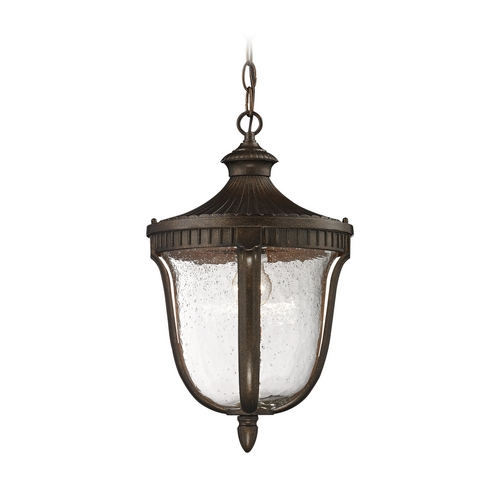 Elk Lighting Outdoor Hanging Light with White Glass in Hazelnut Bronze Finish 27002/1