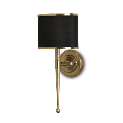 Currey and Company Lighting Plug-In Wall Lamp with Black Shade in Brass Finish 5021