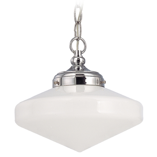 Design Classics Lighting 10-Inch Schoolhouse Mini-Pendant Light in Chrome Finish with Chain FA4-26 / GE10 / A-26