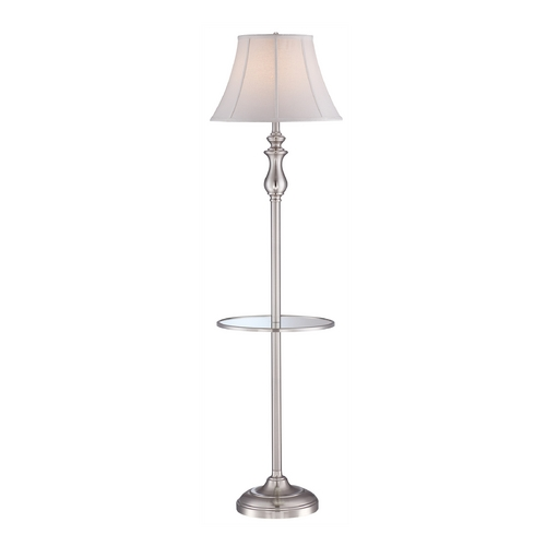 Quoizel Lighting Gallery Tray Lamp with White Shade in Brushed Nickel Finish Q1055FBN