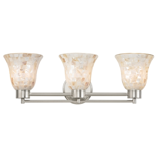 Design Classics Lighting Bathroom Light with Mosaic Glass in Satin Nickel Finish 703-09 GL9222-M