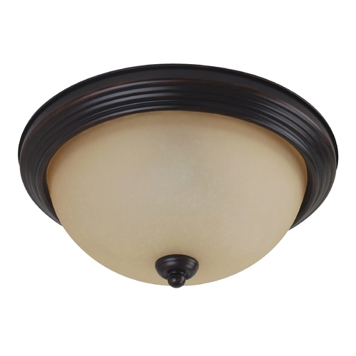 Sea Gull Lighting Flushmount Light with Amber Glass in Burnt Sienna Finish 77063-710